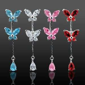 Fancy Belly Ring with Pink Cubic Zirconia Butterflys and