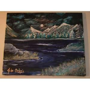 LANDSCAPE MODERN ART PAINTING TITLED ISLANDS IN THE