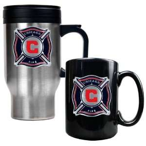 Chicago Fire MLS Stainless Steel Travel Mug and Black