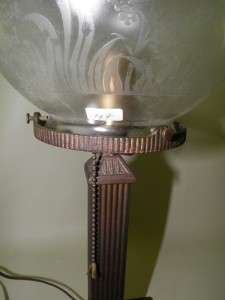 ANTIQUE ARTS&CRAFTS EDGED GLASS SHADE LAMP Early 1900s