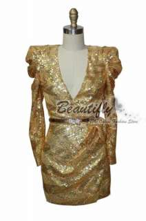 2011 Vogue Gold Sequins Cocktail Mini Prom Gown