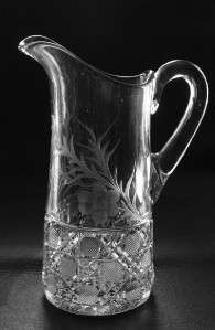EAPG McKee Glass Water Pitcher English Cane Pattern