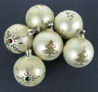 Lot 6 Vintage Glass Christmas Ornaments White w/Glitter