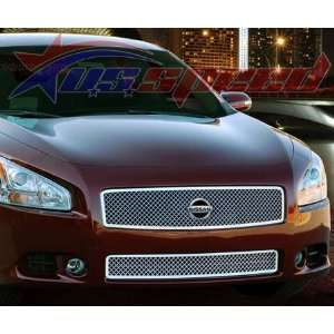 2009 2011 Nissan Maxima Chrome Heavy Mesh Grille 2PC   E&G