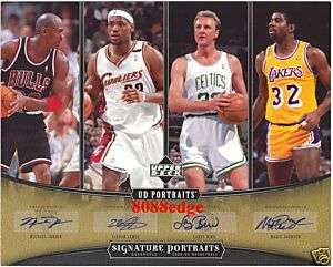 QUAD AUTO MICHAEL JORDAN/LeBRON JAMES/LARRY BIRD/MAGIC JOHNSON #1/10
