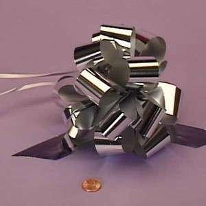 Pack Gift Wrap Metallic Ribbon Pull Bow 5 SILVER