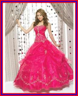 STOCK Hot Pink Prom Party Ball Gown Embroidery Evening Dress Size6 8