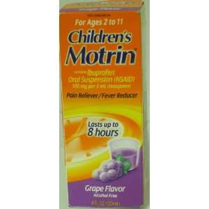 Childrens Motrin, Pain Reliever, Fever Reducer, Grape Flavor 4 Fl. Oz