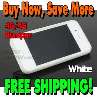 White Bumper Frame TPU Silicone Case Cover for iPhone4 4S 4GS W/Side