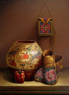 Mario Jung, Original Oil Painting on Canvas, native american still