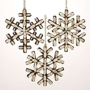 Club Pack of 12 In the Birches Wooden Twig Snowflake