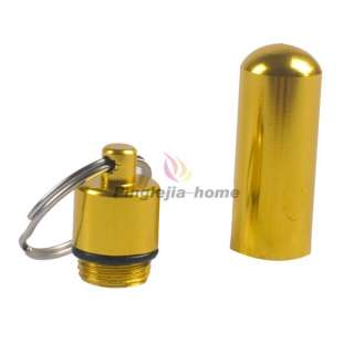 Gold Aluminum Pill Box Case Bottle Holder Container Keychain H