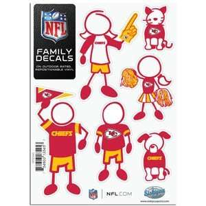 Kansas City Chiefs 5in x 7in Family Car Decal Sheet