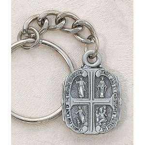 Pewter Keychain (Key Ring) St. Christopher & Our Lady of the Highway
