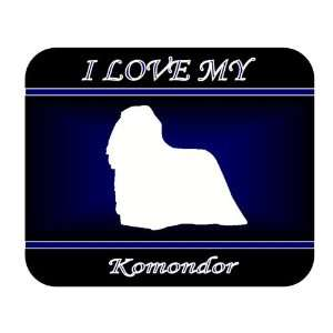 I Love My Komondor Dog Mouse Pad   Blue Design