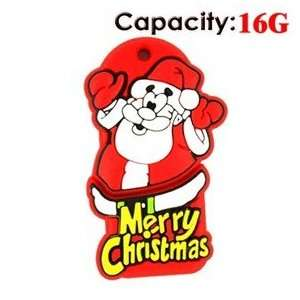 Lovely Cartoon Santa Claus Shape Design 16GB Rubber USB