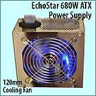 680W Watt Gold Case ATX Computer Power Supply 120mm Blue LED Fan