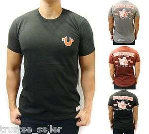 NWT TRUE RELIGION Brand Mens Double Puff Horseshoe Logo SS Vintage Tee