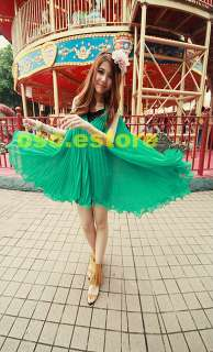 Sexy Women V Neck Loose Green Sleeveless Elegant Pleated Mini Dress