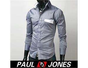 Patched Stylish Casual Dress Slim Fit Shirts IN 3 Colours 3 Size