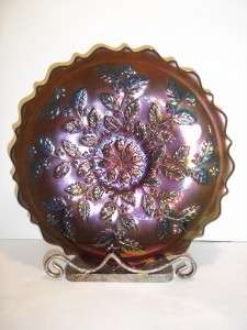 Fenton Glass COBALT BLUE CARNIVAL HOLLY PLATE LTD ED # 436/1750