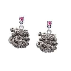 Chinese Dragon Light Pink Swarovski Post Charm Earrings Arts, Crafts
