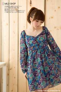 Womens Japanese Korean Fashion Style fit Slim Flower Long Sleeve Dress