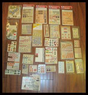 HUGE COLLECTION VINTAGE 1/72 FIGHTER PLANE DECALS 1970s