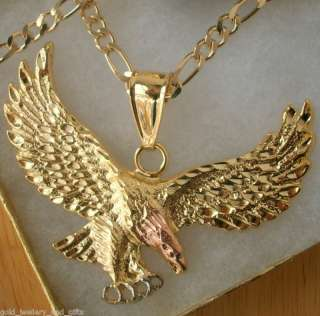GF Gold Men BIG EAGLE Pendant w/ Figaro NECKLACE 24 Long ~ New