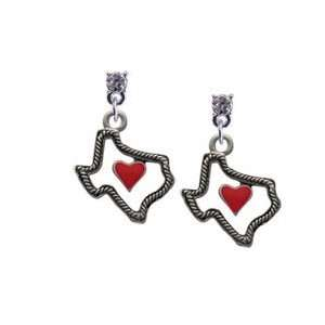 Open Rope Texas with Red Heart Clear Swarovski Post Charm