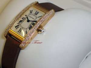 CARTIER TANK AMERICAINE LADIES YELLOW GOLD DIAMOND AMERICAN TANK ref