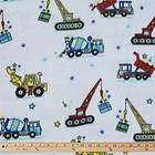 Construction Trucks On Blue Polar Fleece Fabric   BY THE YARD