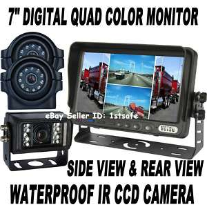 QUAD LCD BACKUP SIDE REAR VIEW REVERSE CAMERA SYSTEM