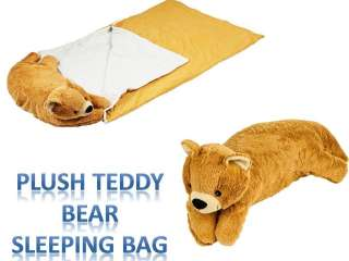 Teddy Bear Sleeping Bed n Bag Snuggle Stuffed Plush Pillow Cuddlee Pet