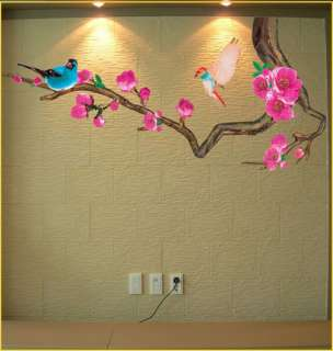 APRICOT FLOWER TREE & BIRD Deco Mural Wallpaper Sticker