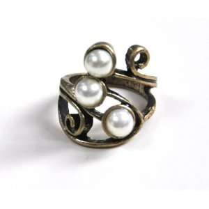 com Art Deco vintage retro style bronze faux pearl ball ring jewelry