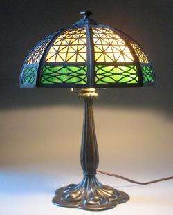 Fine Bradley & Hubbard Mission Style Slag Glass Lamp c. 1915 arts