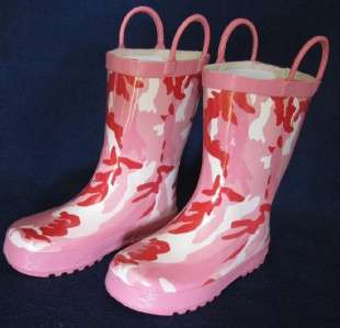 Girls Kids Pink Camouflage Camo Rain Snow Boots Size 7