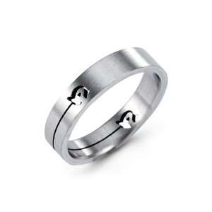 Mens Cutout Solid Stainless Steel Band Fashion Ring