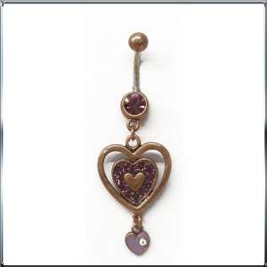 Vintage Heart Belly Button Navel Ring Dangle with Purple