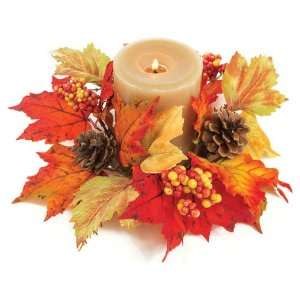 12 Fall Artificial Red & Gold Maple Leaf, Berry & Pine Cone Candle