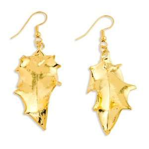 24k Gold Dipped Holly Leaf Dangle Earrings Jewelry