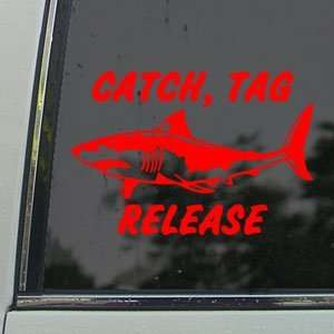 Shark Catch Tag Release Red Decal Truck Window Red Sticker