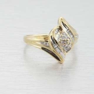 Elegant Vintage Estate Solid 10k Yellow Gold Sparkling Diamond Swirl