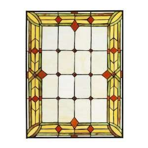 Craftsman 24W Rectangle Tiffany Style Stained Art Glass Window Panel