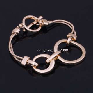 18K Rose Gold GP Simple Chain & Link Fashion Bracelet B146