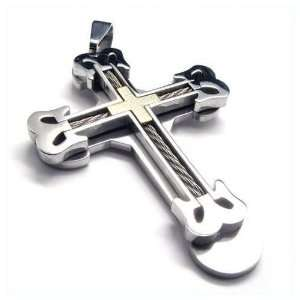 Mens Grande Cable Stainless Steel Cross Pendant Necklace