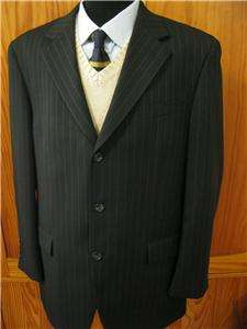 Chaps Mens Sharp Black Pinstripe Three Button Blazer Suit Coat Jacket
