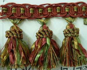 Fringe & Tassels Rusty Red, Green, Gold, Ribbon Tassel