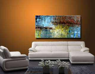 Original Abstract Landscape Palette Knife Art Deco Oil Painting CX948